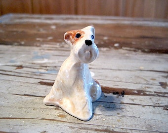 Brown and White Dog Figurine Shaker