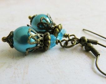 Blue Pearl Earrings, Blue Jewelry,  Vintage Style Earrings, Rustic Bronze Jewelry, For Her, Vintage Wedding, Dangle Earrings