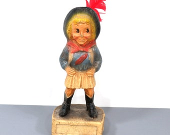 1950s Cowgirl Figurine, Vintage Red Cross Community Chest Campaign Award, Tulsa OK