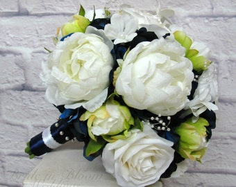 Wedding bouquet - Bride bouquet, navy white roses and peonies, Peony bouquet, Silk wedding flowers
