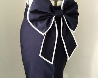 Cute Big Bow Navy Wiggle Skirt, PinUP Nautical Pencil Skirt, Buttoned, Tailored Skirt in Sizes Xs-XL or custom made to your measurements.