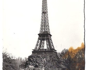 1920's PARIS  Unused postcard from the Eiffel Tower - La Tour Eiffel - Hand-painted BLANK post card from Paris, France