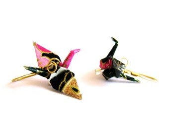 Origami Crane Earrings Fuchsia and Black