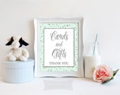 Cards and Gifts Printable Sign, Mint & Silver Glitter Shower Table Sign, Wedding, Baby Shower Sign, 2 Sizes, INSTANT DOWNLOAD