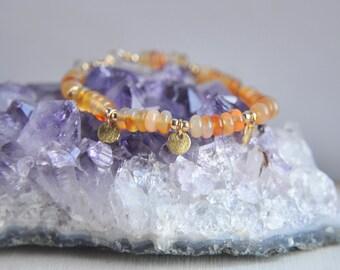 Carnelian Bracelet, Carnelian Jewelry, Orange Bracelet, Summer Bracelet, Summer Jewelry, 14k gold filled Earrings, Everyday bracelet, boho