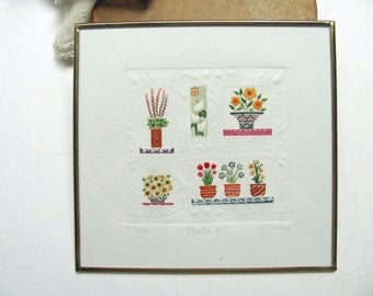 Vintage Enrica Ruiz Etching Mexico Art Plantas IV Painting Plants Flowers Framed Brass Glass Picture Summer Vivid Colors Original Art Signed