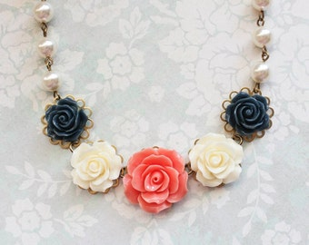 Coral Rose Necklace Navy Blue Bridal Accessories Statement Jewelry Ivory Cream Pearl Necklace Flower Bib Necklace Vintage Style Necklace