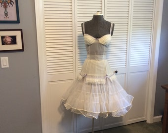 White Ruffled Burlesque Babydoll Lavender Trim Sexy Lingerie Tulle Tiered Skirt