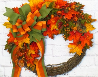 Autumn Wreath, Fall Wreath, Fall Decor, Thanksgiving Wreath, Wreath with Autumn Leaves