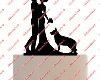 Custom Wedding Cake Topper with a dog silhouette of your choice, choice of color and a FREE base for display