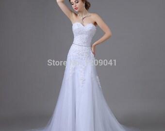 Reem Acra Tulle/Lace Wedding Dress with Swarovski Waist