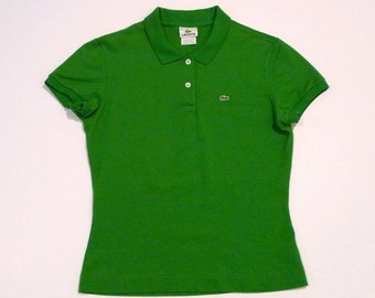 Lacoste Polo Shirt Vintage Lime Green Logo Knit top Tennis shirt Crocodile Size EU 44 Slightly fitted Ladies Womens Sportswear