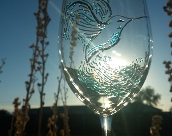 Hummingbird Wine Glass 3D Paint