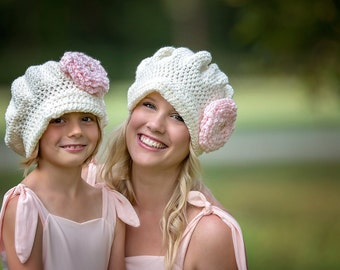 Non Felted Shabby Chic Matching Mother Daughter Newsboy Hats