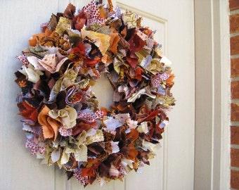 Fall Wreath, Fall Rag Wreath, Thanksgiving Decor, Thanksgiving Wreaths, Autumn Wreath, Door Wreath, Fabric Wreath, Wreath for Fall