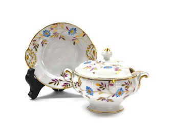 SALE! Tureen with Matching Underplate and Ladle  / Sauces and Dressings Server / Hand Decorated Porcelain / c1930s