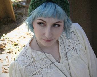 Hand Knit Green Turban Headband / Ear Warmer / Hat / Winter Headband / Green