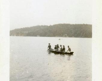 "Vintage Photo ""Michigan Lake Explorers"" Snapshot Antique Photo Black & White Photograph Found Paper Ephemera Vernacular - 188"