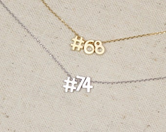 Hashtag Number Necklace | Jersey Number | Sports Team | Player | Fan Parent | Soccer Mom | Football | Basketball | Baseball