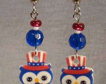 Independence day Owl Dangle earrings - Americana Jewelry