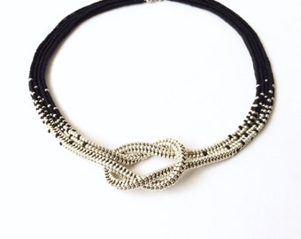 Infinity beadwoven beaded love knot choker seed bead ombre necklace in matte jet black and shiny metallic silver