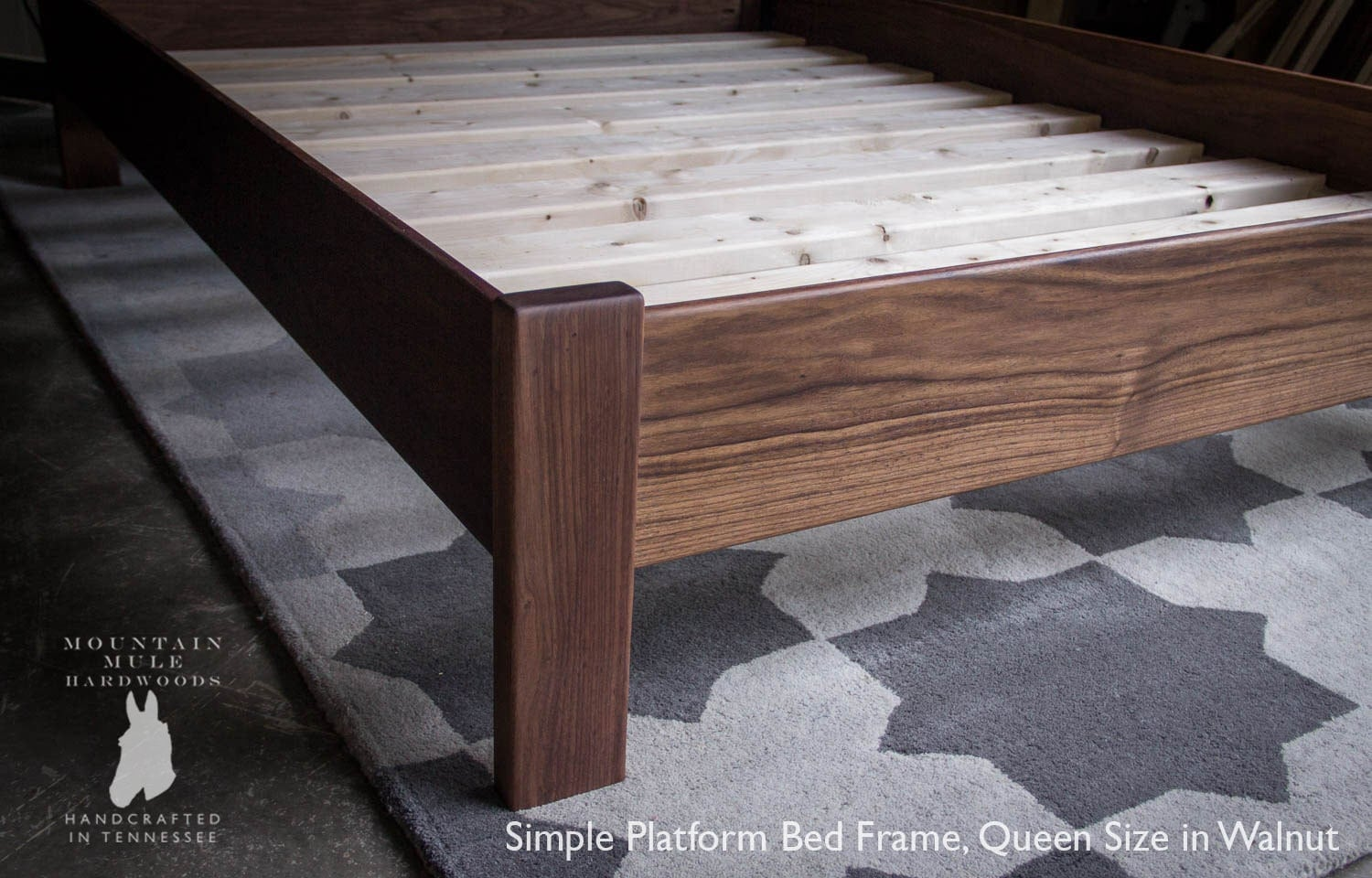 Simple Queen Size Platform Bed Frame Custom Made Of American