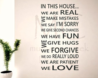 House Rules Wall Decal, Subway House Rules Sign, Housewarming Gift, Subway Vinyl Wall Decal, In This House Wall Decal, We Are Real Decal