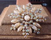 Rhinestone Glass Pearl Snowflake Fancy Vintage Brooch