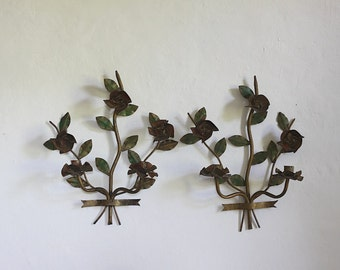 French Vintage Candle Scones, Floral Pair of Wall Lights, Sconce,  Shabby Chic Hand Painted Roses