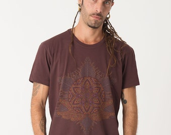 Sacred Geometry Mens Tee, Spiritual Shirt, Yantra, Screen Printed T shirt, Yoga Clothing, Mens Tshirts, Festival Shirt