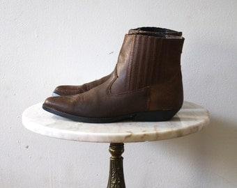Ankle Boots Cowboy - 8 8.5 Women's - Brown Leather Ropers - 1980s Vintage