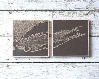 Long Island Map Coasters, Set of Original LI Map Coasters, North Fork Long Island, The Hamptons, Nautical Decor, Beach Decor,Long Island NY