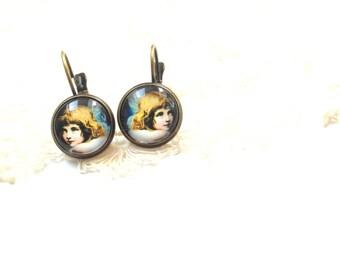 Angle Earrings , angles jewelry ,blue drop Earrings ,vintage cameo earrings , dangle earrings, romantic gift