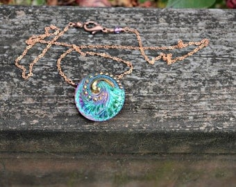 Green Glass Button Necklace with Copper Chain bright colorful green purple and copper handmade jewelry gift