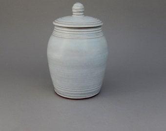 Ceramic Lidded Jar - White Pottery Jar