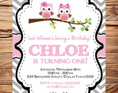Owl Birthday Invitation, pink owls, Chevron Birthday Invite, Owl Birthday Invite Girl, pink, Digital, Chevron Stripes, 223