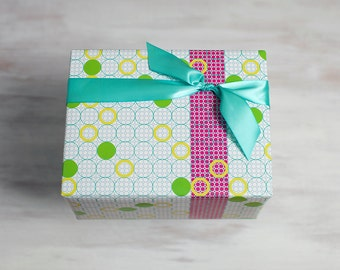 Circles Recycled Gift Wrap, Modern Wrapping Paper, Eco Luxe Gift Packaging, Made in the USA, Pink Stripe, Green, Blue, Birthday Wrap