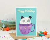 Panda Happy Birthday Card - Happy Birthday - Kids Birthday Card - Kawaii Birthday Card - Card For Children - Tea Birthday - Card For Her