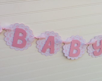 Pink & White Heart Baby Shower Banner, It's A Girl banner, Baby Banner, Baby Shower Decorations