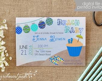 Beach Baby Shower Invitation   Summer Baby Shower   Boy Baby Shower    Printable Invitation