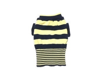 Designer Dog Sweater, Small Blue and Yellow Striped Dog Clothes, Pet Apparel ,Puppy Boutique 0331