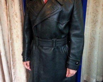 German Leather Coat, Leather Overcoat, Leather Trench, size 38-40