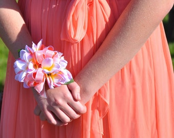 Prom or Wedding Corsage made with Tropical Silk Plumeria on a Crystal and Rhinestone Bracelet.