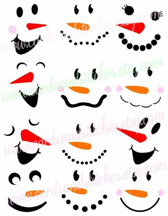 Snowman Faces Svg Snowmen Svg Winter By Cardsandstitches