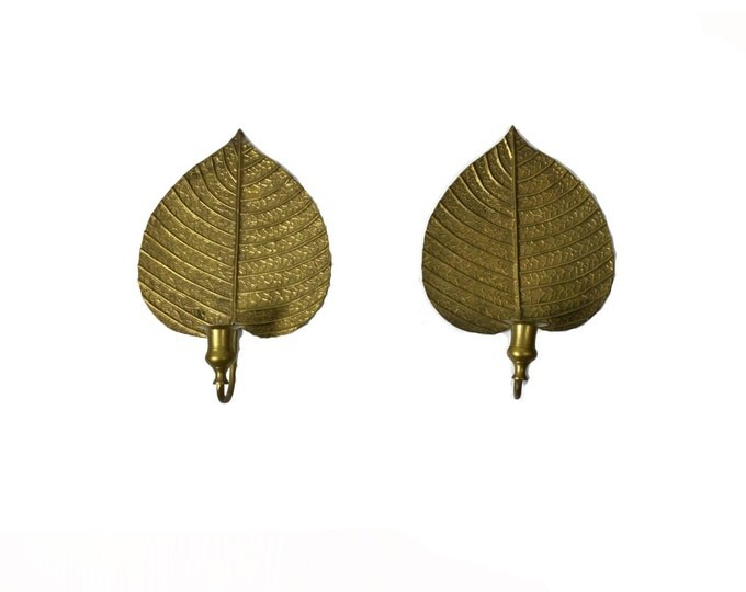 Featured listing image: Brass Leaf Wall Sconces  Brass Leaf Candle Holders Leaf Wall Sconce Brass Leaf Candleholders Brass