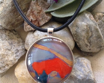 "Handmade Original Painting Pendant Necklace, ""Glory"""