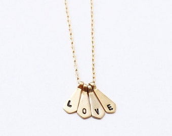 14k Gold Love Necklace - Four Letters Gold Necklace - Monogram Gold Pendant Necklace - Love 14k Gold Chain - Delicate Gold necklace For Her