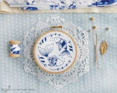 Fish wall décor, Blue wall art, Sea blue - Ocean Fish Embroidery kit - DIY gift, Blue white, Sea nursery, Embroidery hoop art