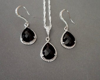 Black and silver jewelry set ~ Sterling Silver ~ Necklace and earring set ~ Black Czech Glass ~ Bridal jewelry ~ Bridesmaids ~ Gift