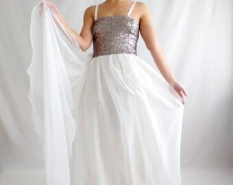 Fairy wedding dress, Sequins wedding dress, Silk wedding dress, Wedding dress, Alternative wedding dress, Boho wedding dress, Bridal dress